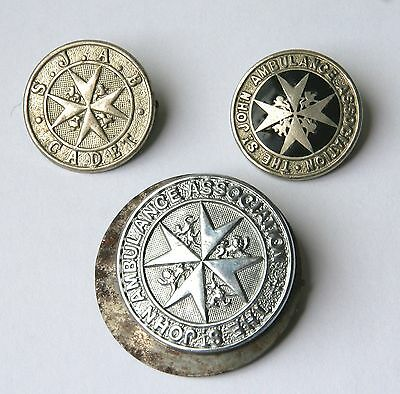 Three Vintage St John Ambulance Association Metal Badges