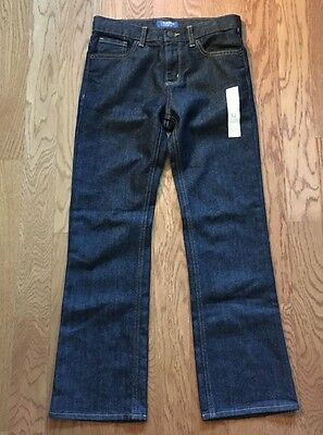 NWT Girl's OLD NAVY Jeans Size 12 Loose Boot-Cut Dark Adjustable Waist FREE SHIP