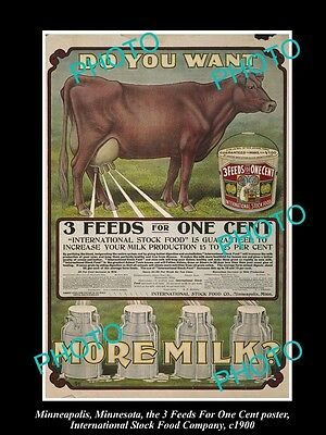 OLD LARGE PHOTO OF MINNEAPOLIS STOCK Co POSTER, MILK INDUSTRY 3in1 FOOD c1900