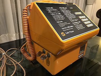 Telecom Vintage Gold Pay Phone - With Keys- Nice Example