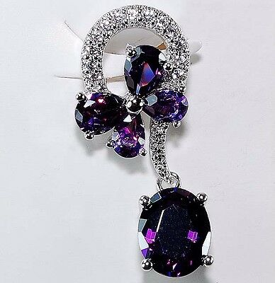 4CT Amethyst & White Topaz 925 Solid Sterling Silver Pendant Jewelry, T4-1