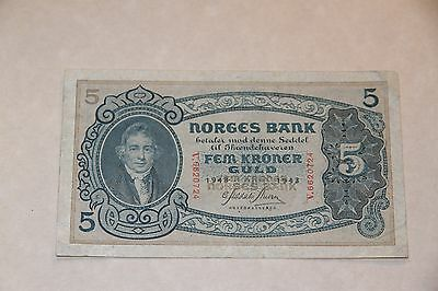 Norway 5 Kroner 1943 P.7c, World War Two Currency