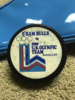 1980 U.S. Olympic Team Hockey Puck vs. CHL Birmingham Bulls 11/8/1979