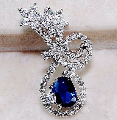 2CT Blue Sapphire & White Topaz 925 Solid Sterling Silver Pendant Jewelry, T6-1