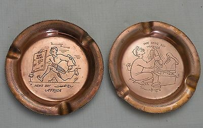 """Pair of Vintage Brass Ashtrays from Africa, 3.5"""", INTERESTING ETCHED IMAGES!"""