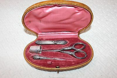 Antique French Sterling/Silver Plate  Sewing Set with added Sterling Thimble