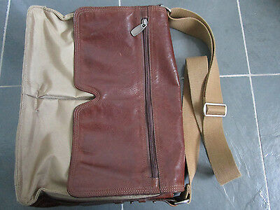 FOSSIL Brown Genuine Leather w/Beige Canvas Briefcase Laptop Business Case Bag