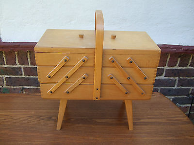 A Vintage Retro 1960's Wooden Cantilever Sewing Craft Storage Box Basket 1960's