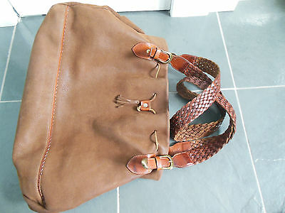 LUANA Made in ITALY Tan Genuine Leather Luggage Travel Carry-On Bag VINTAGE