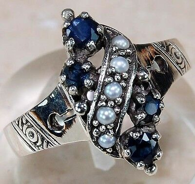 Sapphire & Pearl 925 Solid Sterling Silver Ring Jewelry Sz 7, F1-8
