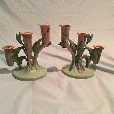 Pair of Roseville Candlesticks / Candle Holders 1108