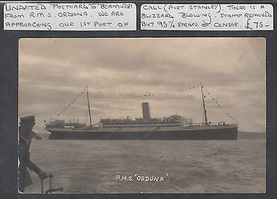 RMS ORDUNA STB Next Port of Call Port Stanley,Falkland Is.; Censor;Missing Stamp