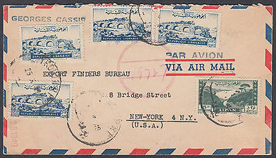 Lebanon, Beyrouth / Beruit Airmail to New York, USA(Fiscal on reverse per scans)