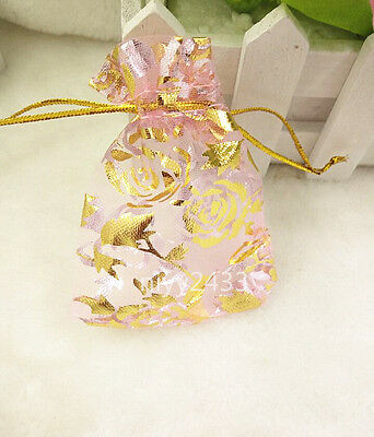 50pcs 7*9cm Jewellery Pouches Packing Organza Gift Bags Wedding Party pink