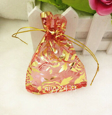 50pcs 7*9cm Jewellery Pouches Packing Organza Gift Bags Wedding Party red