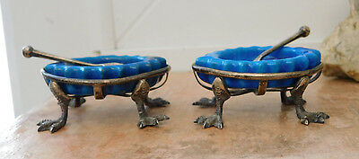 Superb Quality very Unusual Bird Foot Hallmarked Silver Pair of Salts + spoons