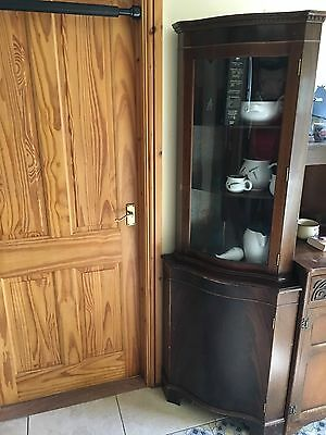 Antique corner display cabinet wall unit with leaded glass