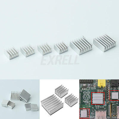 6x Aluminium Heat Sink For Computer Memory LED Power IC Transistor Cooler 2 Size
