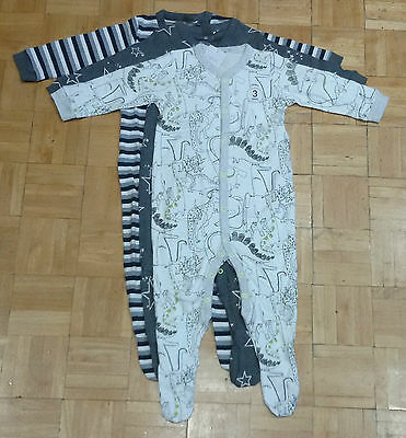 BNWT baby boys 3pk Grey Dinosaur Stripe sleepsuit NEWBORN,First Size,3-6 NEXT