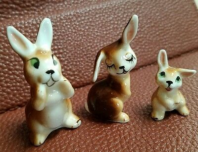 Vintage porcelain Miniature Rabbit Bunny Family of 3 Father Mother Baby brown