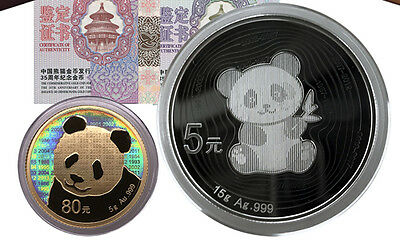 2017 China 35th Anni of Issuance Panda 5g Gold and 15g Silver Coins Set BOX, COA