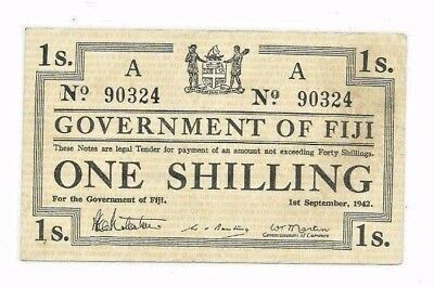1942 Government of Fiji Emergency Issue One 1 Shilling Note