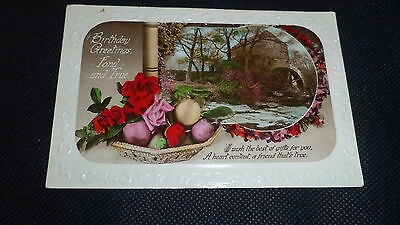 Vintage Birthday Greetings Postcard (Real Hand Coloured Card) - 1934