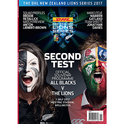 NEW ZEALAND ALL BLACKS v BRITISH & IRISH LIONS 2ND TEST 2017 PROGRAMME