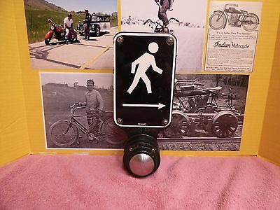 Traffic Sign Vintage Porcelain Push Button Crossing Signal Road Barn Moto Cafe