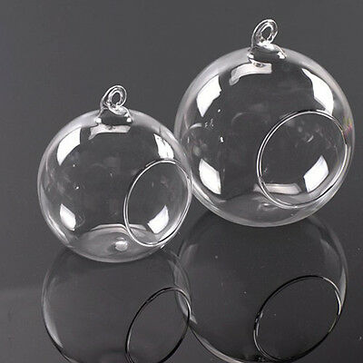 Clear Stylish Glass Round Hanging Candle Light Holder Candlestick - 6CM