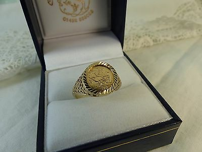 9ct 9carat Gold George & Dragon Coin Ring, size 'M'