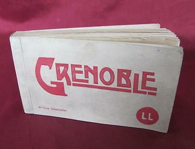 VINTAGE FRENCH POST CARD PHOTO ALBUM w/REAL PHOTOS OF GRENOBLE LANDMARKS