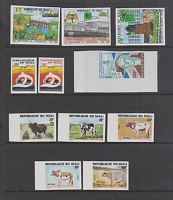 MALI IMPERFORATES MNH In Complete Sets 388-390, 409-410, 411-415, 476