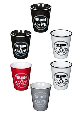 Bistro Design Demitasse Coffee Cup Set, Ceramic Espresso Shot Cup, Set of 6
