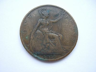1919 George V One Penny 1d Coin - Great Britain