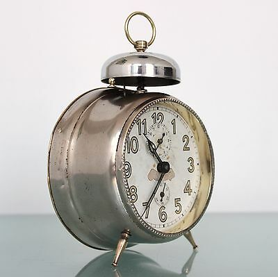 JUNGHANS Alarm SPECIAL TOP! Clock Antique BELL Mantel 1920s! Germany Full Metal!