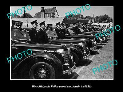 OLD  HISTORIC PHOTO OF BRITISH, WEST MIDLANDS POLICE PATROL CARS c1950s AUTINS
