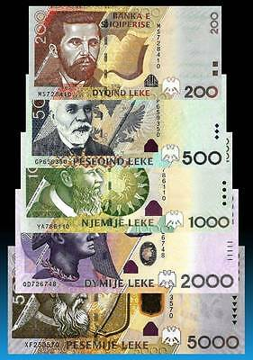 ALBANIA 2007 - 2013 LEKE - Set Banknotes - UNC Current in Circulation