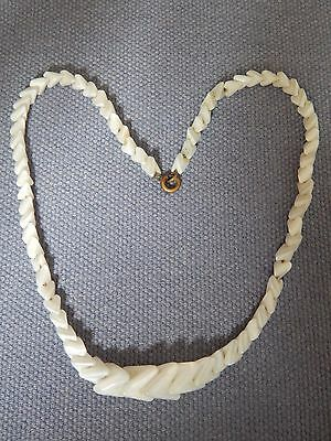 "VINTAGE ART DECO PEARLISED WHITE GLASS ""SHARKS TOOTH"" NECKLACE ~ CZECH ~ 1930's"