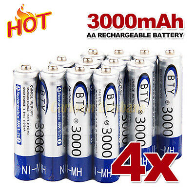 4 pcs AA Rechargeable batteries Bulk Nickel Hydride NI-MH 3000mAh Battery 1.2V