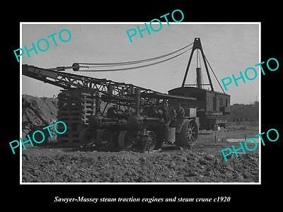 OLD LARGE HISTORIC PHOTO OF 2 SAWYER MASSEY STEAM TRACTORS AND STEAM CRANE c1920