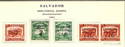 Salvador  Semi Postal Issues 1931