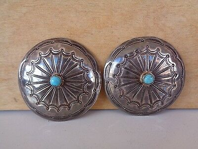 Two Vintage Navajo Belt Conchos Coin Silver Small Turquoise Sets Heavy