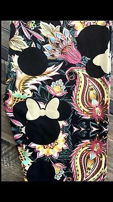 Lularoe LLR Disney ONE SIZE OS Minnie Mouse Floral Paisley Leggings Black RARE!!