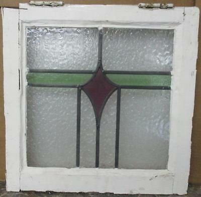 """OLD ENGLISH LEADED STAINED GLASS WINDOW Pretty Abstract Geometric 17.75 x 17.75"""""""
