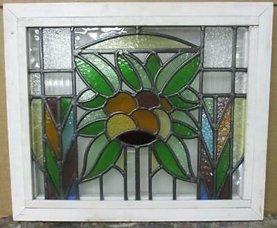 """OLD ENGLISH LEADED STAINED GLASS WINDOW Intricate Geometric Floral 20.75 x 17.5"""""""