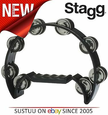 Stagg Cutaway Plastic Tambourine with 16 Jingles Suitable for 3+ Year - Black