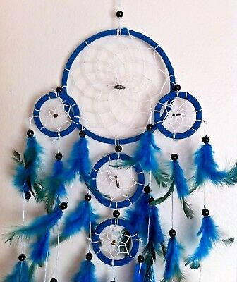 """Cherokee Handmade 26"""" Dream Catcher, Tiger Eyes, Blue & Green Turquoise Feathers"""