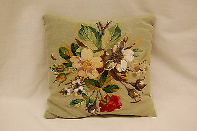 Early 20th Century Floral Needlepoint Pillow with Glass Beaded Designs