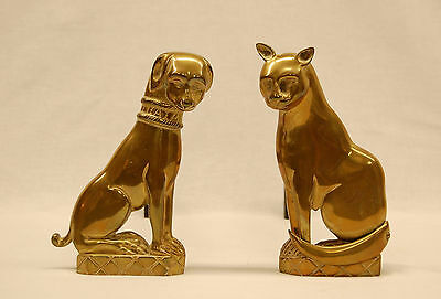 Pr Solid Brass 19th Century Fireplace Andirons in Cat and Dog Figures Circa 1890